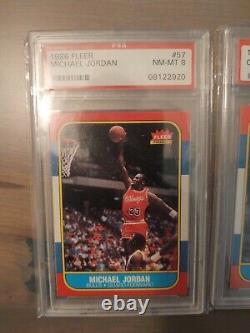 1986-1987 Fleer Basketball Complete Set of 132 cards Michael Jordan PSA 8 NM-MT