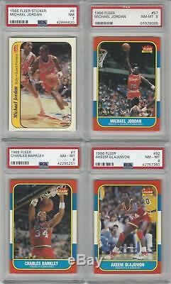 1986 Fleer Complete 132 Set Michael Jordan Rookie 8 PSA 37 Graded Cards Stickers