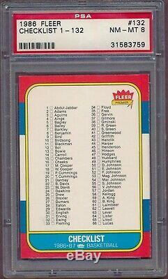 1986 Fleer Jordan PSA 8 Complete Set 132 cards ALL GRADED (NQ)