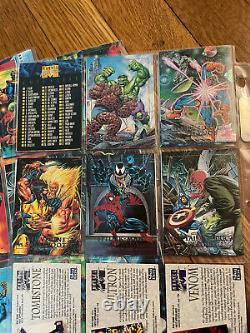 1992 Marvel Masterpieces Complete 100 card base set + 5 card Spectra Etch set
