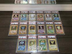 COMPLETE 1999 BASE SET Unlimited Pokemon Cards 102/102 ALL HOLOS PSA 9 MINT