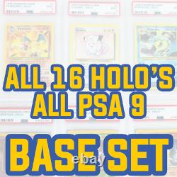 COMPLETE Base Set PSA 9 Unlimited Holo Collection 1-16 Base Pokemon PSA 9 Cards