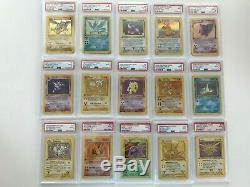 Complete 1st Edition Fossil Set PSA 9 Holo Pokemon TCG Cards WOTC 15/62 MINT