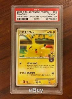 Psa 10 Gem Mint Pikachu 10th Anniversary Pokemon Center Complete Card Set 102/dp