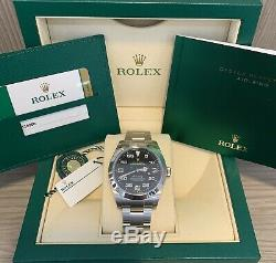 Unworn Rolex Air-King 116900 40mm Complete Set Box Card Stainless Black Dial