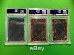 Yu-Gi-Oh! Complete Set of 3 PSA 10 Secret Rare God Cards GBI-001 GBI-002 GBI-003